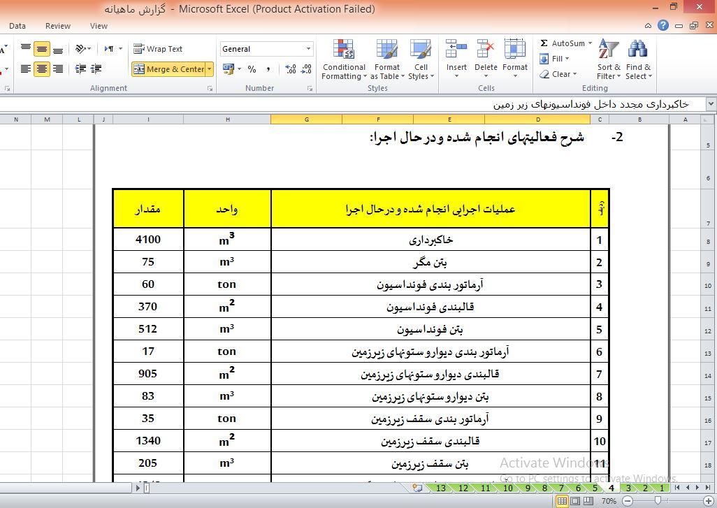 فایل گزارش ماهانه