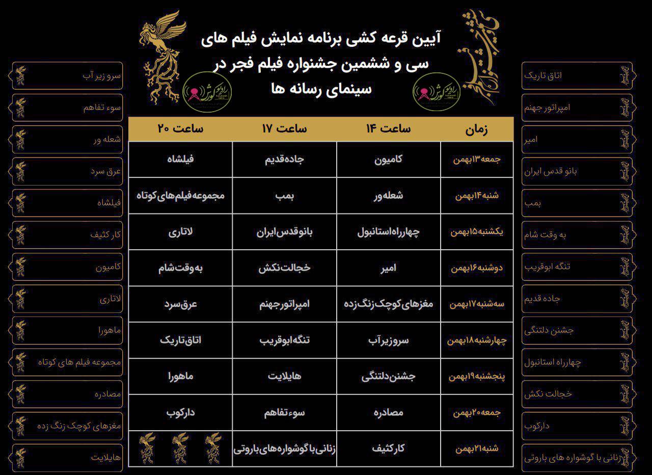 برنامه نمایش فیلم های سی و ششمین جشنواره فیلم فجر
