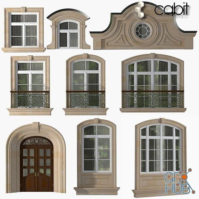 1d0u 1548668273 windows and doors of modern classics style - مجموعه آبجکت در و پنجره کلاسیک