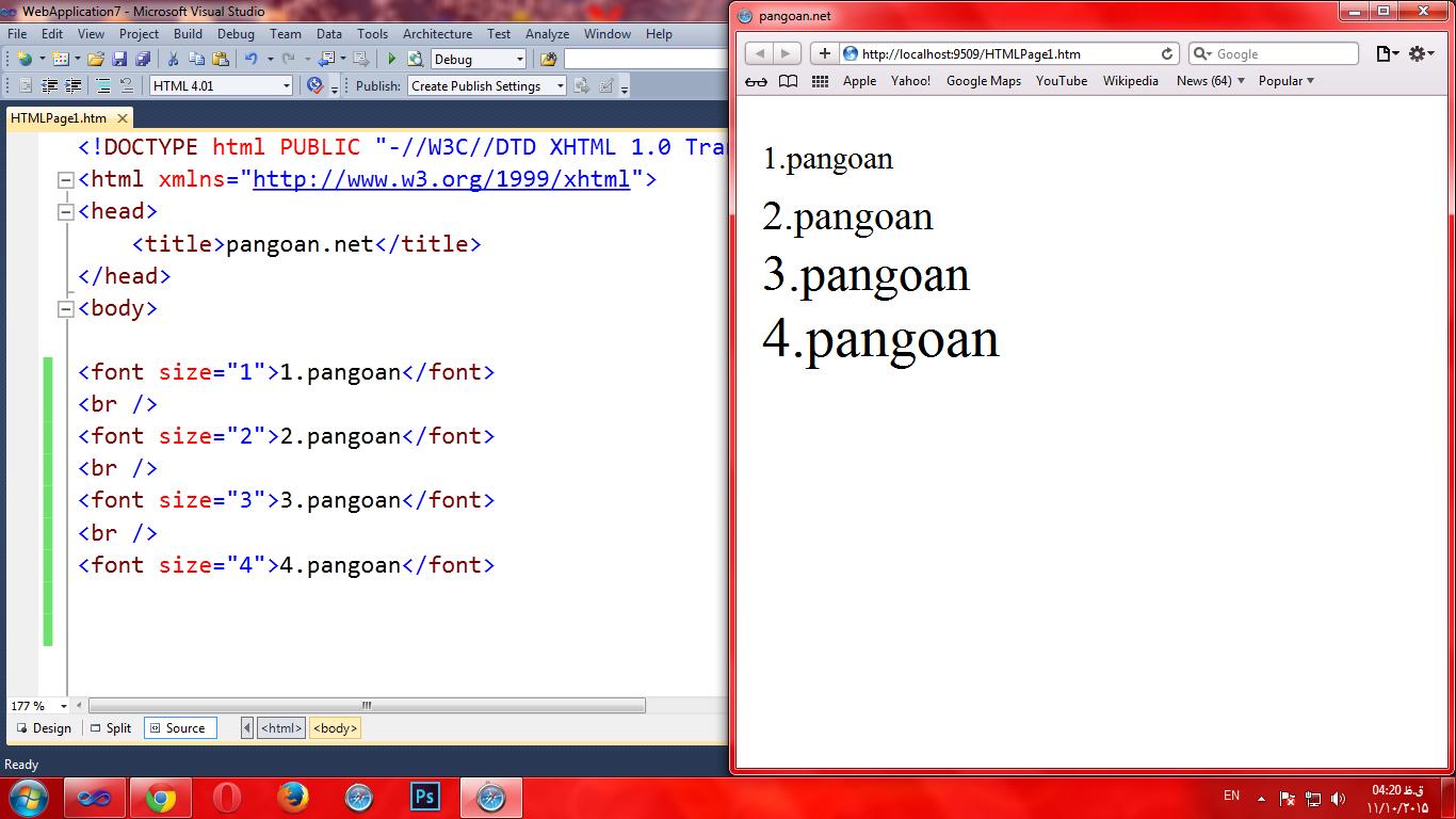 آشنایی با تگ font در HTML