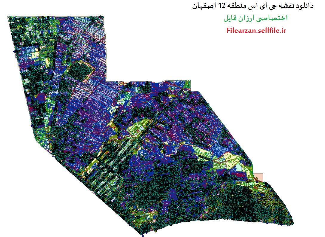 نقشه gis منطقه 12 اصفهان