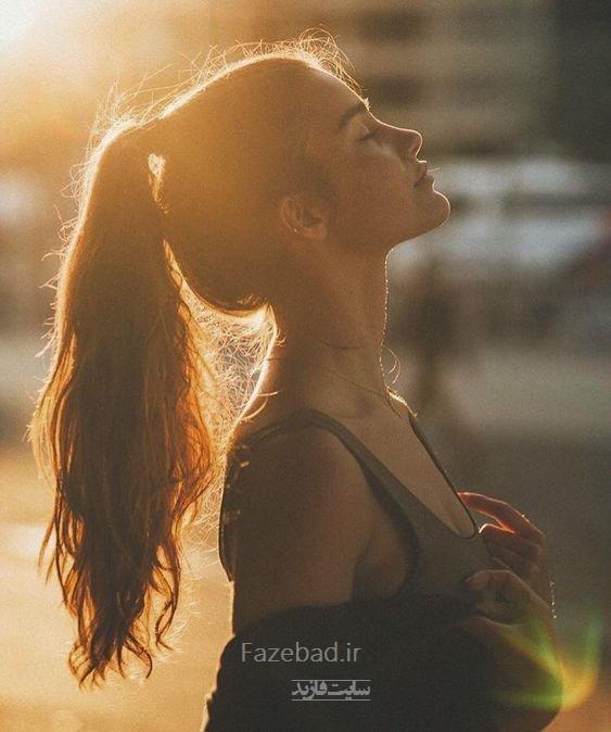 عکس پروفایل دخترانه احساسی| پروفایل دختر با موهای بسته|پروفایل دخترجلو غروب خورشید