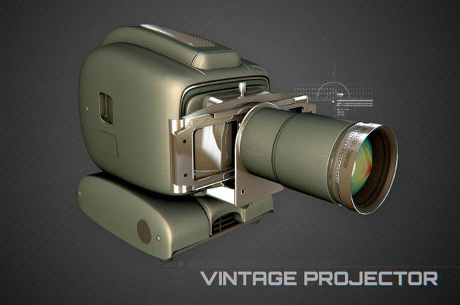 5yux vintage projector - مجموعه مدل سه بعدی تجهیزات الکترونیک و تکنولوژی C4D