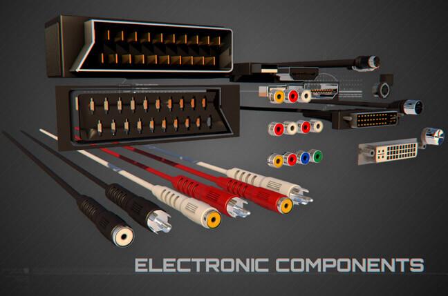 6ci9 electronic components - مجموعه مدل سه بعدی تجهیزات الکترونیک و تکنولوژی C4D