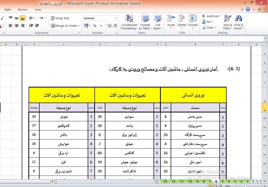 فایل گزارش ماهانه اکسل