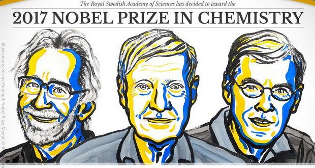جایزه نوبل شیمی 2017 به طرح تهیه تصاویر سه بعدی از مولکولهای زنده تعلق گرفت