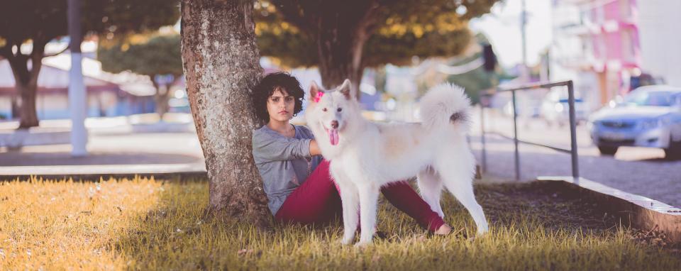 پروفایل لاکچری دختر و سگ گرگ نما در شهر