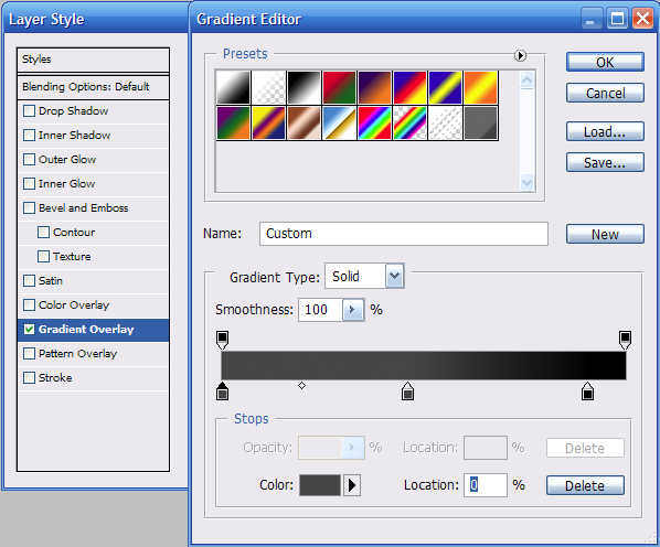 مکان چک باکس Gradient Overlay در فتوشاپ