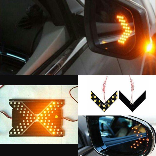چراغ راهنما LED روی شیشه آینه بغل