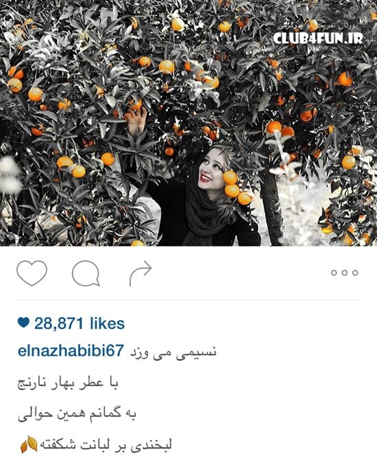 عکس هنری الناز حبیبی زیر درخت نارنج