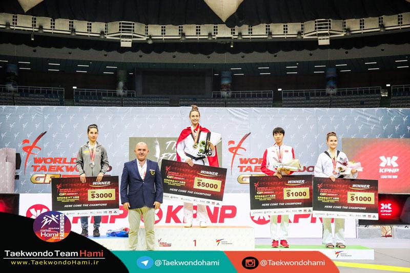 سکو مدال آوران وزن (57-kg |بانوان) گرندپری 2018 چین تایپه