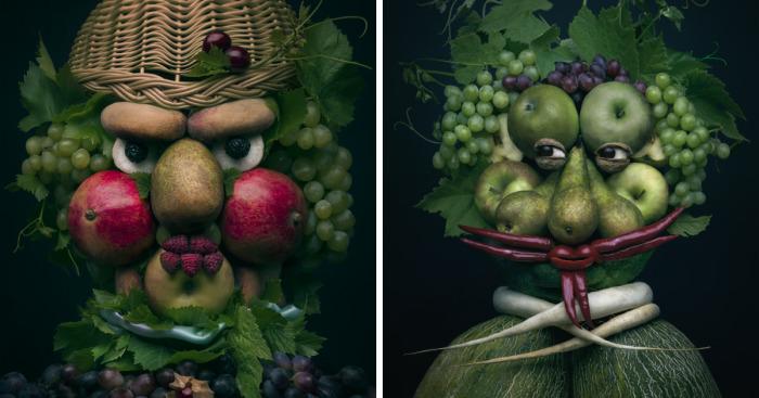 نگاهی به پرتره های زیبایی که از میوه ها و سبزیجات خلق شده اند