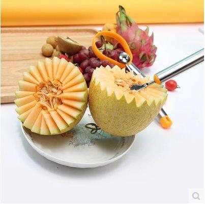 f3ne multifunction fruit spoon peeling %282%29 پکیج میوه آرایی کیوی خربزه طالبی ملون هندوانه پرتقال شامل3ابزار