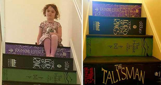 پله هایی جالب و دیدنی شبیه قفسه کتاب