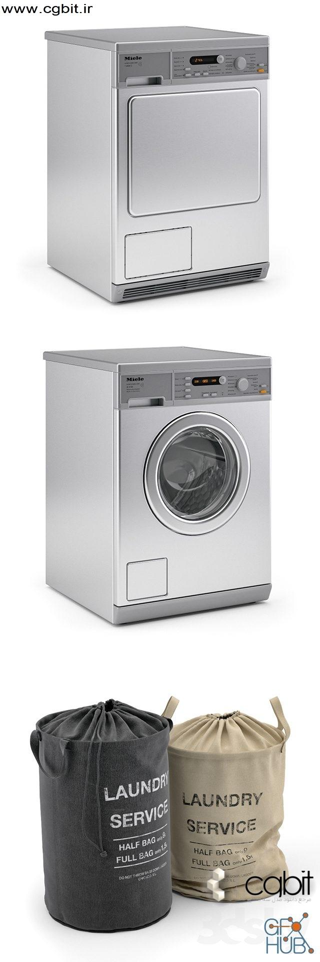 fems 1552305881 laundry 2 - مجموعه مدل سه بعدی لباسشویی و خشکشویی