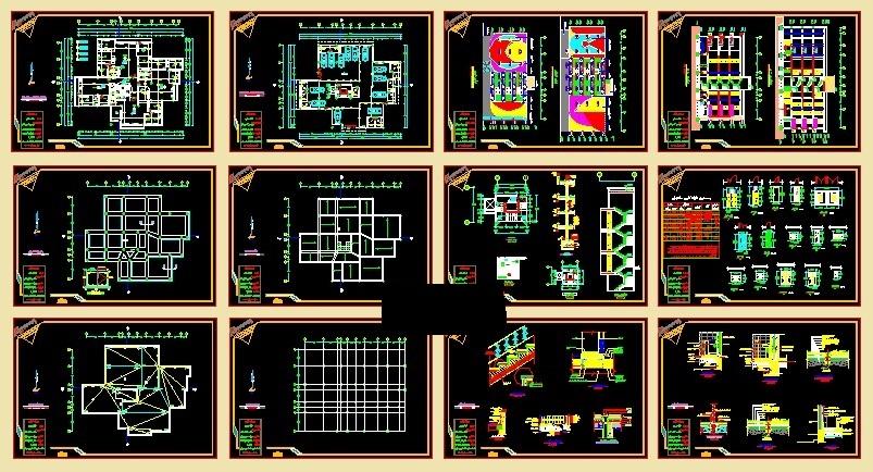 نقشه های اتوکدی مسکونی4 واحده،