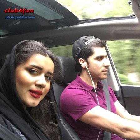 سلفی شهرام محمودی و همسرش در حال رانندگی