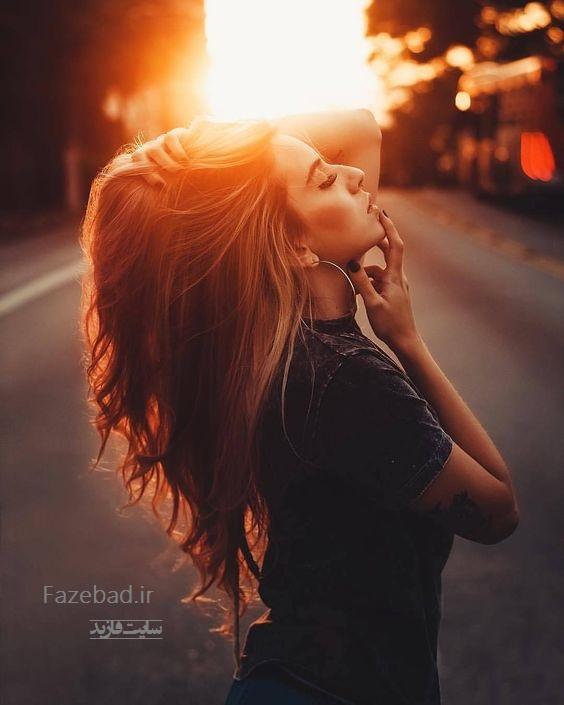 پروفایل دختر عاشق جلو خورشید | عکس پروفایل دختر عاشق و احساسی | پروفایل دخترونه
