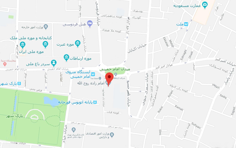 نقشه دسترسی به امامزاده روح الله تهران