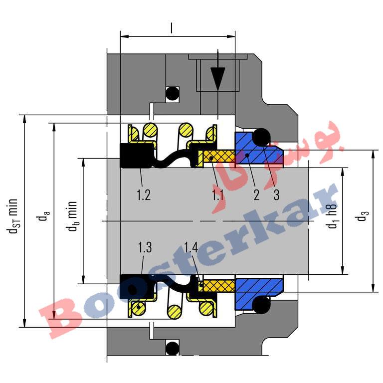 مشخصات ابعاد و اندازه مکانیکال سیل بروگمن سری EMG1