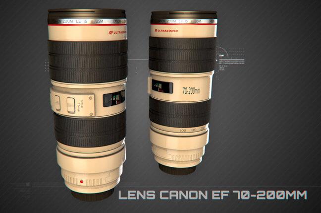 hvdd lens canon ef 70 200mm - مجموعه مدل سه بعدی تجهیزات الکترونیک و تکنولوژی C4D