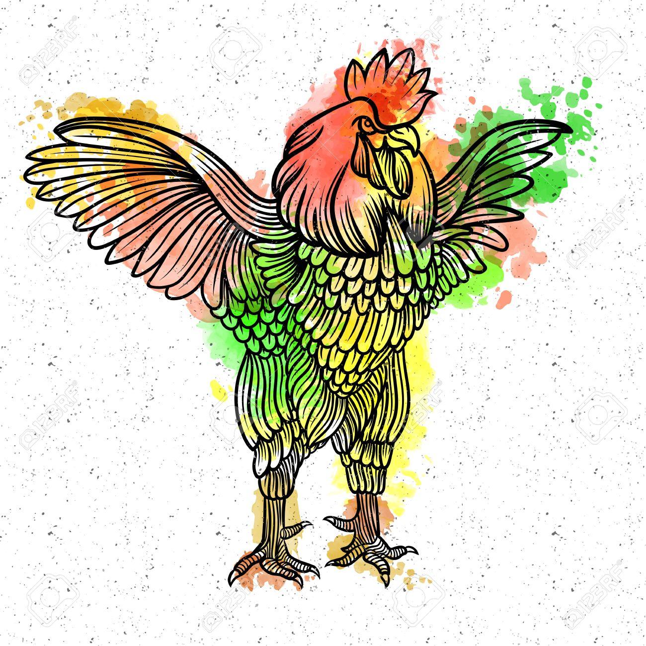 نمونه نقاشی و رنگ آمیزی ساده از خروس برای کودکان پیش دبستانی و عید نوروز 96