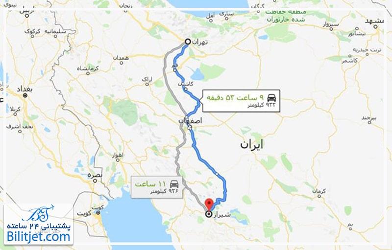 مسافت تهران تا شیراز