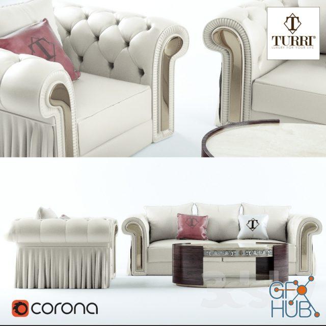 kfte 1552047096 sofa chair coffee table turri couture - مجموعه مدل سه بعدی تخت و مبلمان - 001