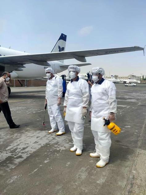 ضد عفونی ناوگان هوایی ایران ایر با رعایت کامل
