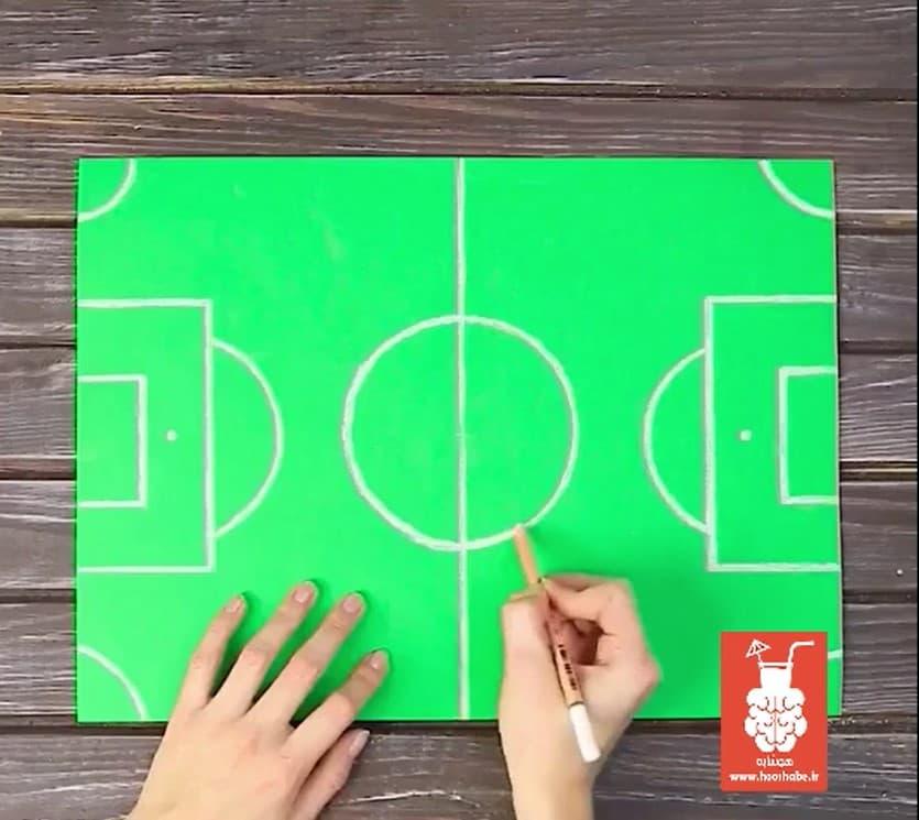 مرحله سوم ساخت آدمک و زمین فوتبال انگشتی