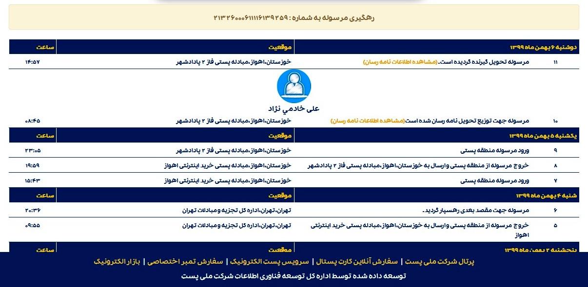رسید پستی زیورآلات ارسال شده به اهواز شهرستان پادادشهر