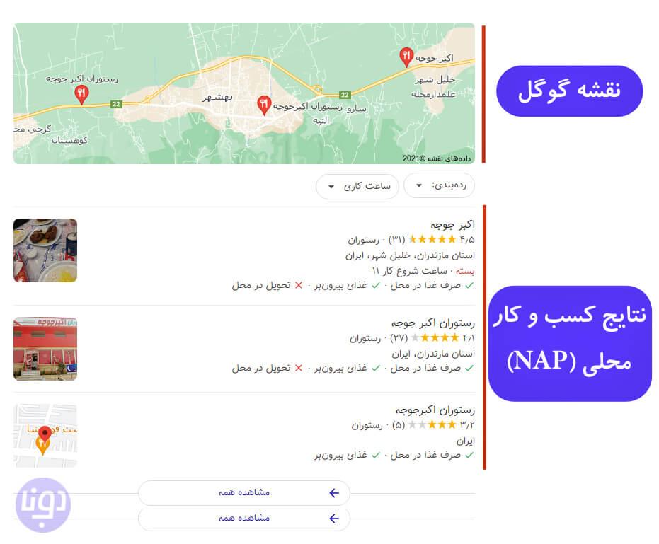 بلوک نقشه گوگل یا Map Pack