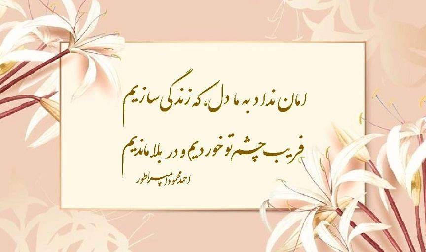 تک بیت:   امان نداد به ما دل، که زندگی سازیم  فریبِ چشمِ تو خوردیم و در بلا ماندیم  احمد محمود امپراطور