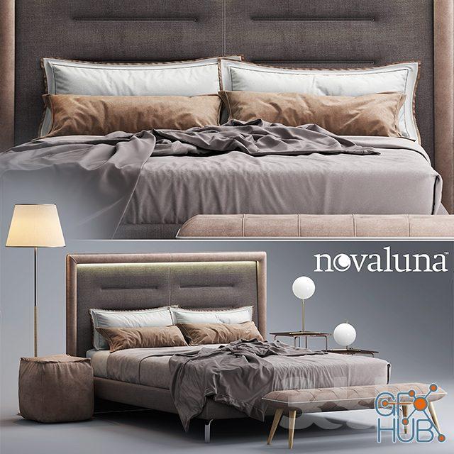nhgb 1552138321 bed novaluna queen fabric bed - مجموعه مدل سه بعدی تخت و مبلمان - 001