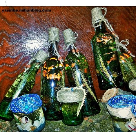 بطری های تزیین شده با کنف