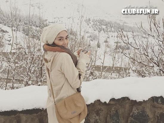 عکس برفی دیبا زاهدی در ارتفاعات تهران