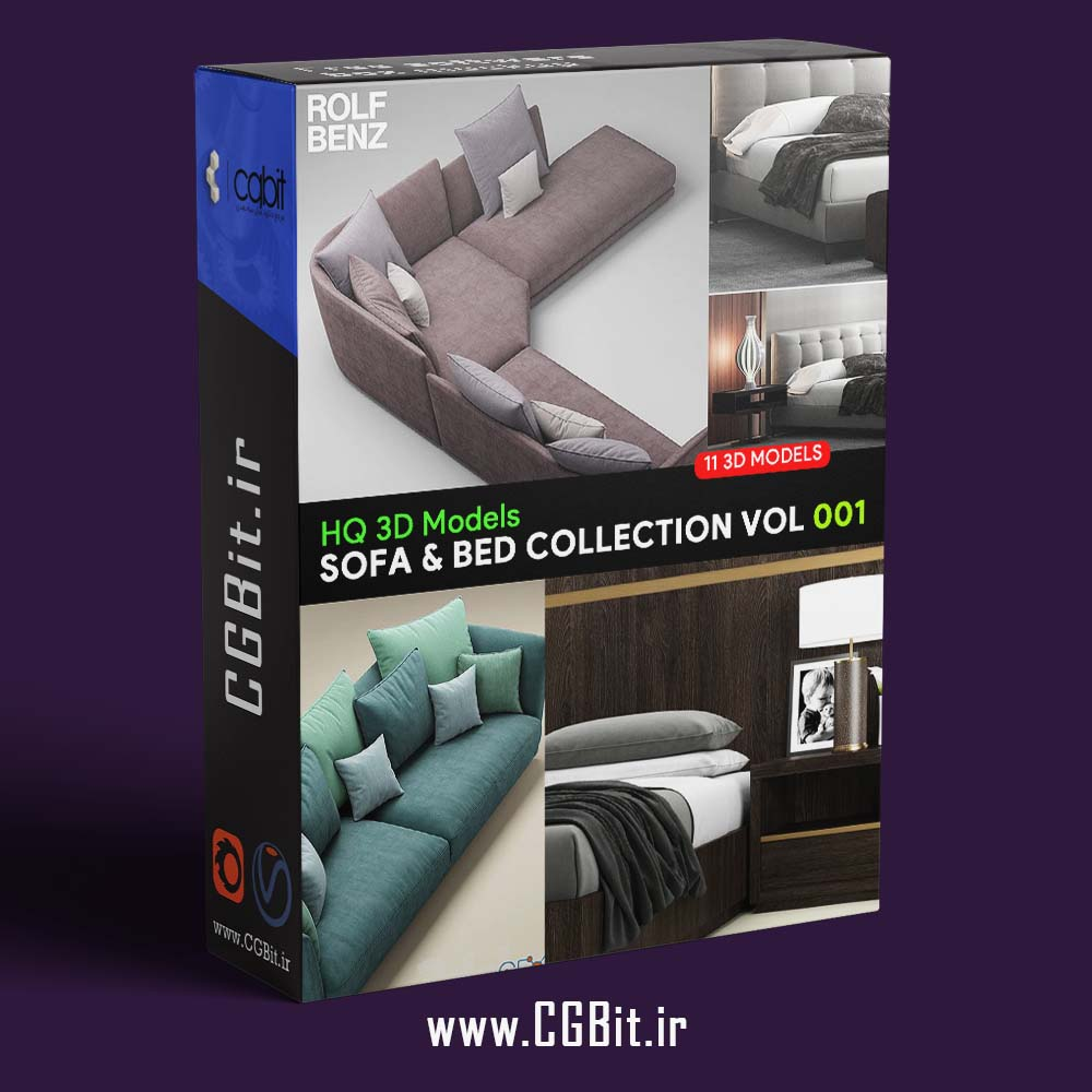 pom sofanbedcol1 - مجموعه مدل سه بعدی تخت و مبلمان - 001