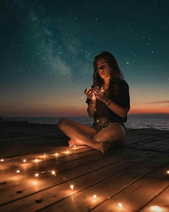 عکس دختر و شب و ستاره ها