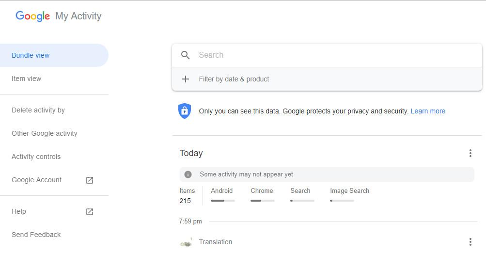 فعالیت من گوگل