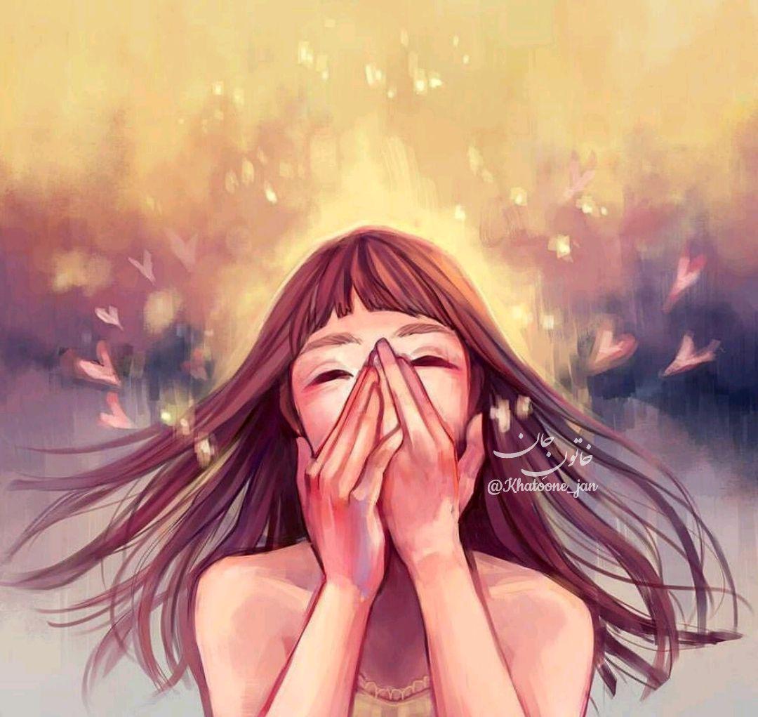نقاشی زیبا از دختر شاد
