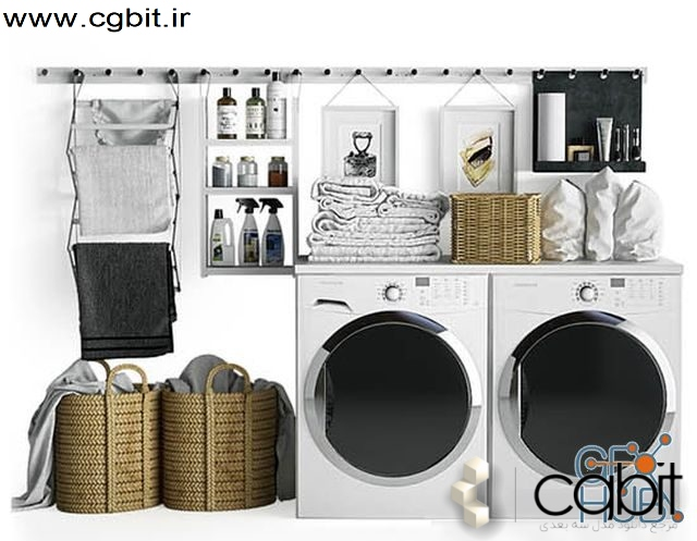 rmhq 1551341076 laundry set gabrielle system 1 - مجموعه مدل سه بعدی لباسشویی و خشکشویی