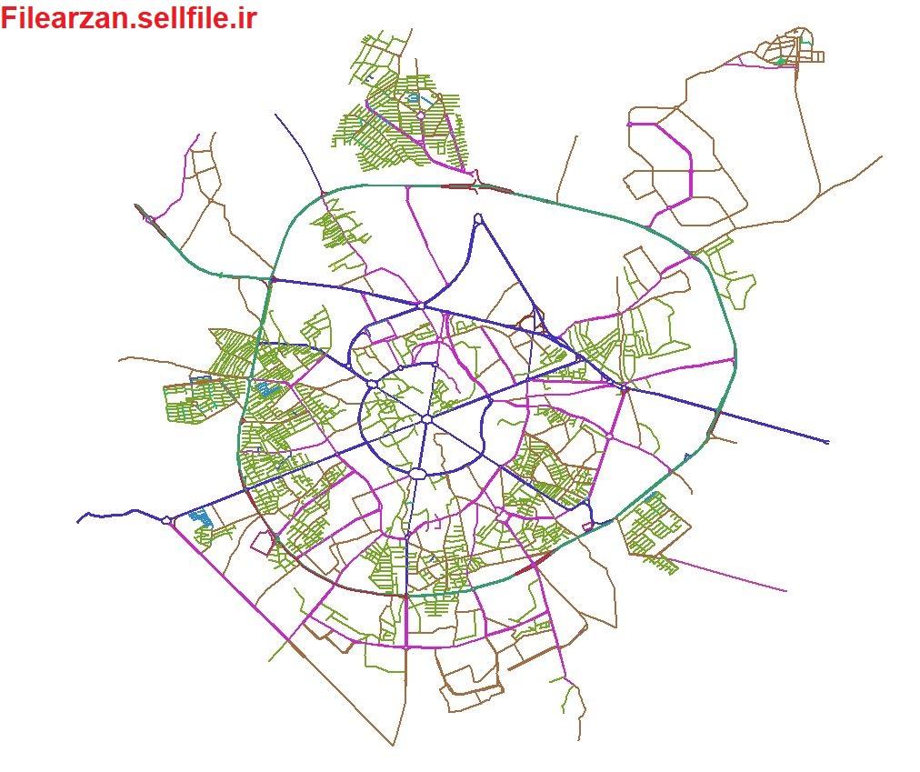 شیپ فایل شبکه معابر همدان
