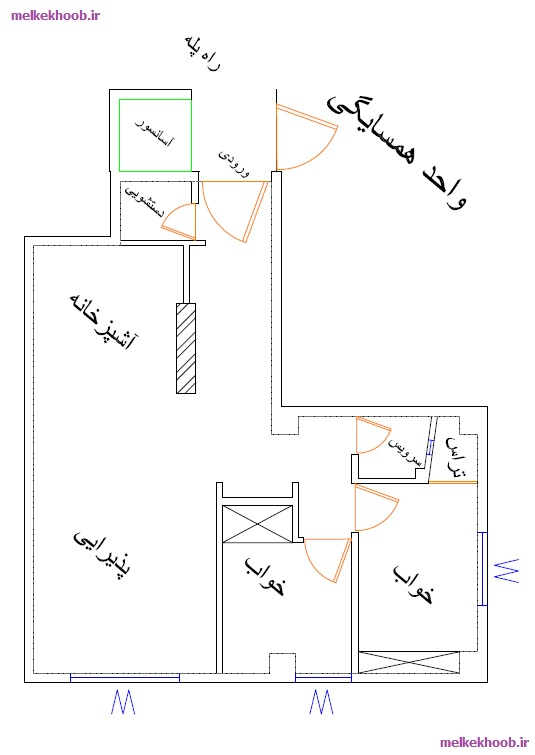 An example of a residential unit plan in Rasht (Rudbaratan)