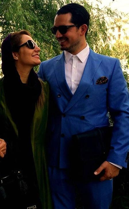 مهناز افشار و همسرش با تیپ جدید