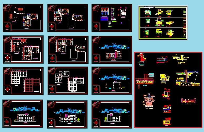 پیش نمایش نقشه های اتوکدی مسکونی 4 واحده،