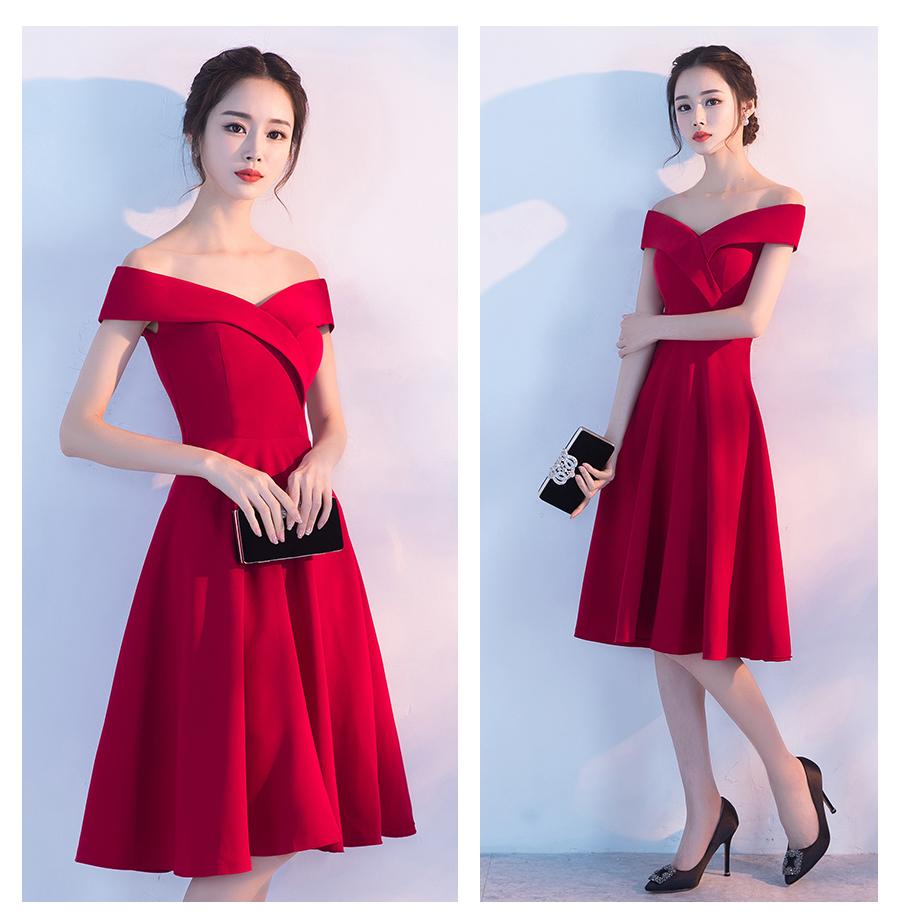 لباس مجلسی قرمز کوتاه کره ای بهار و تابستان 2017 مارک Fallon