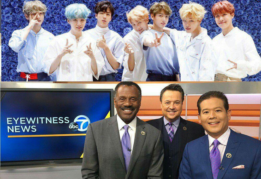 uvye 1 - abc TV reporter & anchors wear purple ties and take a group photo for '#BTS Day