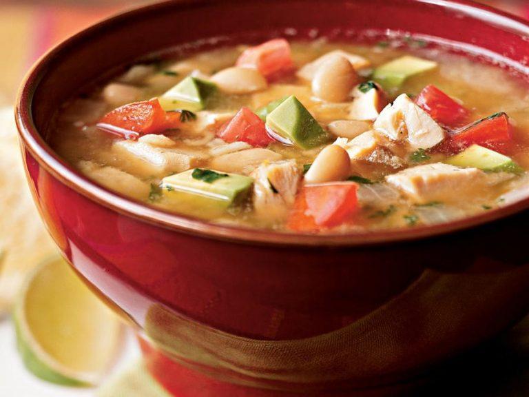 سوپ مرغ با لوبیا سفید