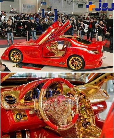 مرسدس بنزی با تزئینات طلا