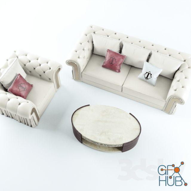 wqan 1552047086 sofa chair coffee table turri couture 3 - مجموعه مدل سه بعدی تخت و مبلمان - 001